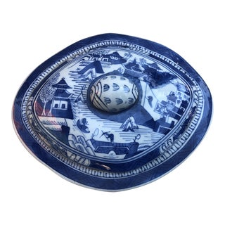 Blue & White Chinoiserie Covered Dish For Sale