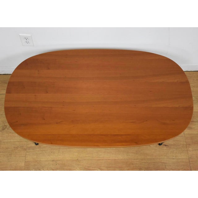 Mid-Century Modern Cherry and Chrome Oval Coffee Table For Sale - Image 3 of 9