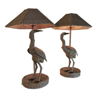 Mario Lopez Torres Heron Lamps-Pair For Sale