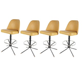 Mid Century Modern Eames Herman Miller Style Swivel Bar Stools- Set of 4 For Sale