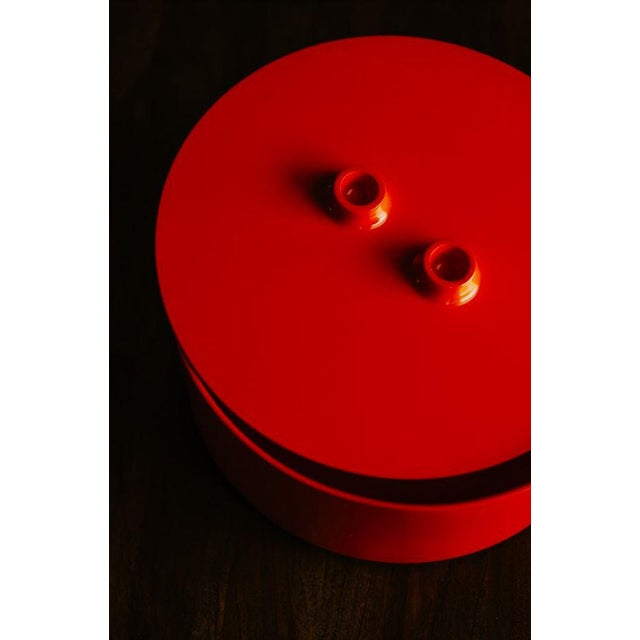 Red Vintage Mid-Century Massimo Vignelli Heller Plate Storage Container For Sale - Image 8 of 10