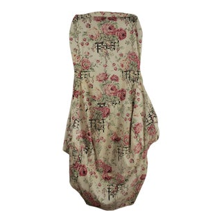 Antique 1930s French Floral Roses Fabric Chair Slipcover for Wingback or Slipper Chair For Sale