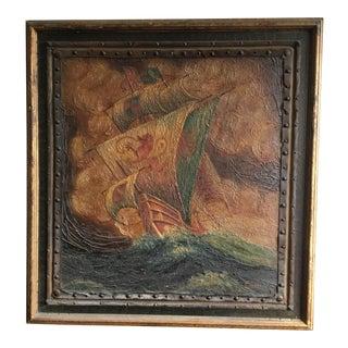 "P. Kinnear Original Oil Painting, ""The Dragon Ship"" For Sale"