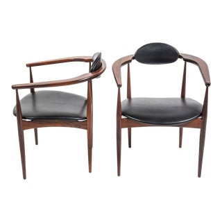 Adrian Pearsall Craft Associates Mid Century Black Leather 950 Chairs - a Pair For Sale