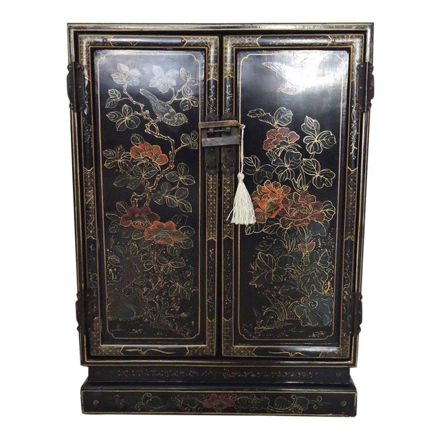 Black Oriental Lacquered Cabinet & Lock - Image 1 of 6