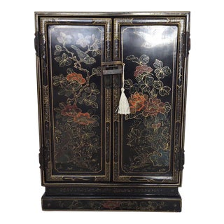 Hand Painted Vintage Black Lacquer Oriental Cabinet & Lock For Sale