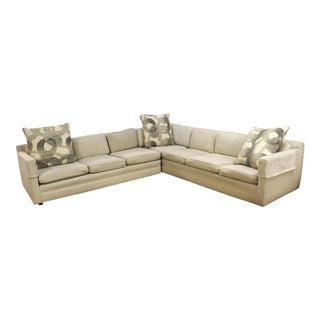 1970s Mid-Century Modern Milo Baughman Two-Piece Beige Sectional Sofa For Sale