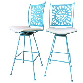 Arthur Umanoff Bar Stools a La Alexander Girard- a Pair For Sale