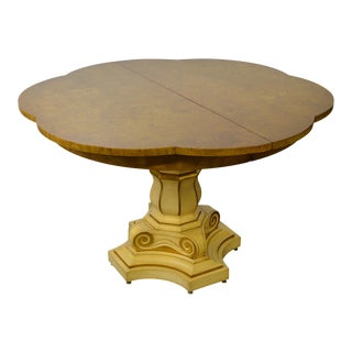 Hollywood Regency Vintage Burl Wood Top Painted Pedestal Base Expanding Dining Table