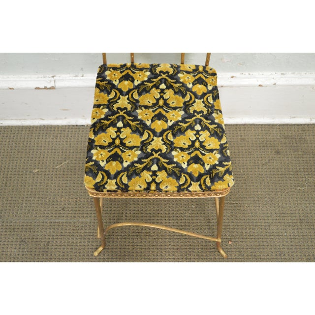 Antique Gilt Metal Faux Bois Aesthetic Side Chair For Sale - Image 5 of 11