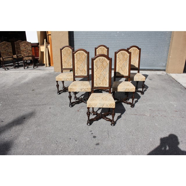 Wood 1900s Vintage French Louis XIII Style Dining Chairs - Set of 6 For Sale - Image 7 of 13