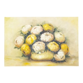 Floral Oil Painting of Peonies | Yellow and Blush Still Life For Sale