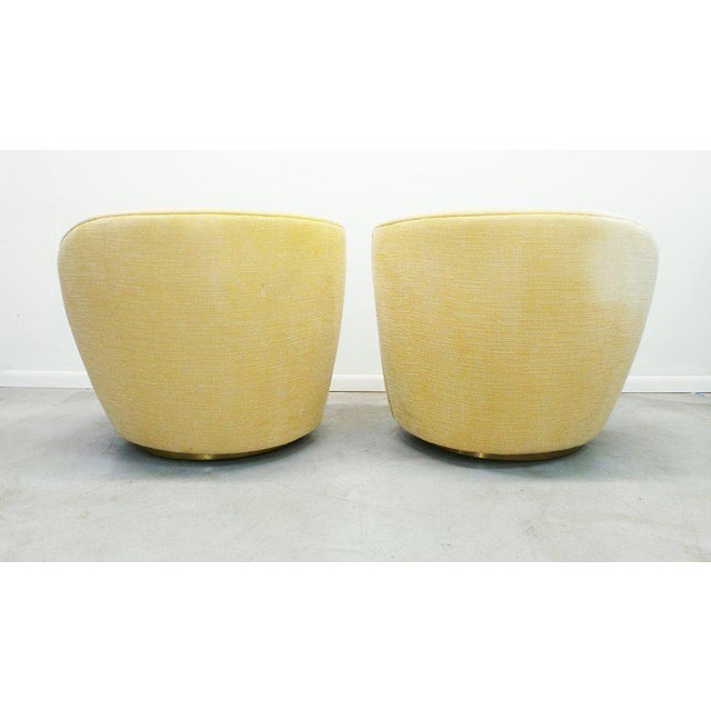 """Post Modern Vladimir Kagan for Weiman Swivel """"Nautilus"""" Corkscrew Club Chairs- A Pair For Sale - Image 9 of 13"""