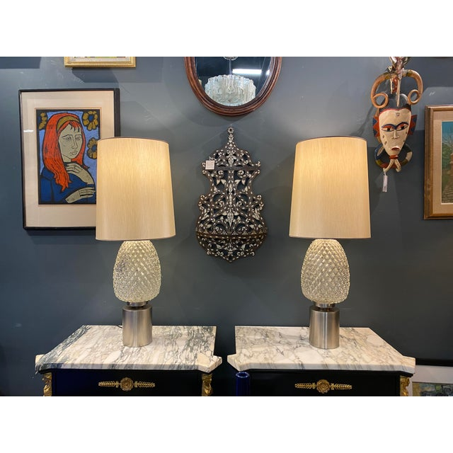 Mid-Century Modern 60s Pressed Glass Lamp - a Pair For Sale - Image 3 of 13