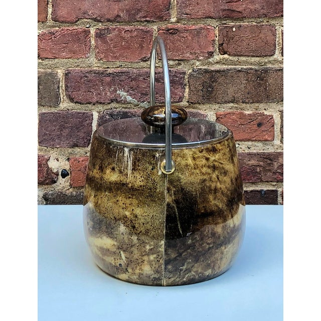 C.1950 Italian Aldo Tura Brown Goatskin and Brass Plate Ice Bucket For Sale - Image 9 of 12