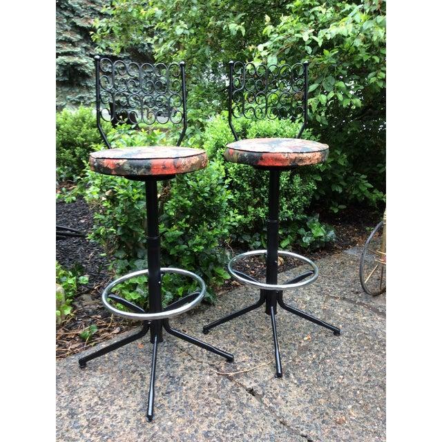 Arthur Umanoff Arthur Umanoff Wrought Iron Swivel Bar Stools - A Pair For Sale - Image 4 of 9