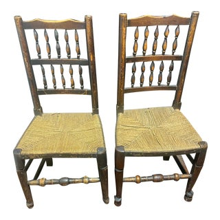 1790s Vintage Elm Spindle Back Chairs - a Pair For Sale