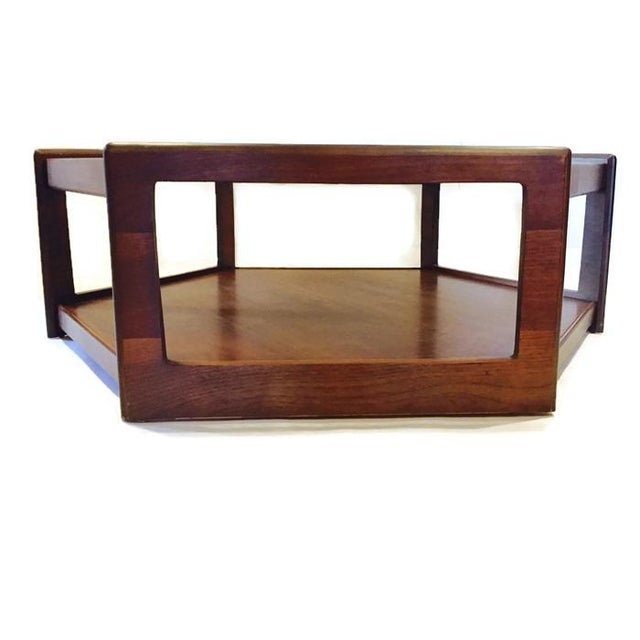 Mid century modern hexagon coffee table walnut smoky for Hexagon coffee table glass