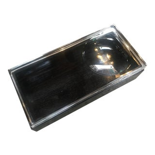 1970s Vintage Italian Decorative Rectangular Black Wood Box With Thick Glass Top For Sale