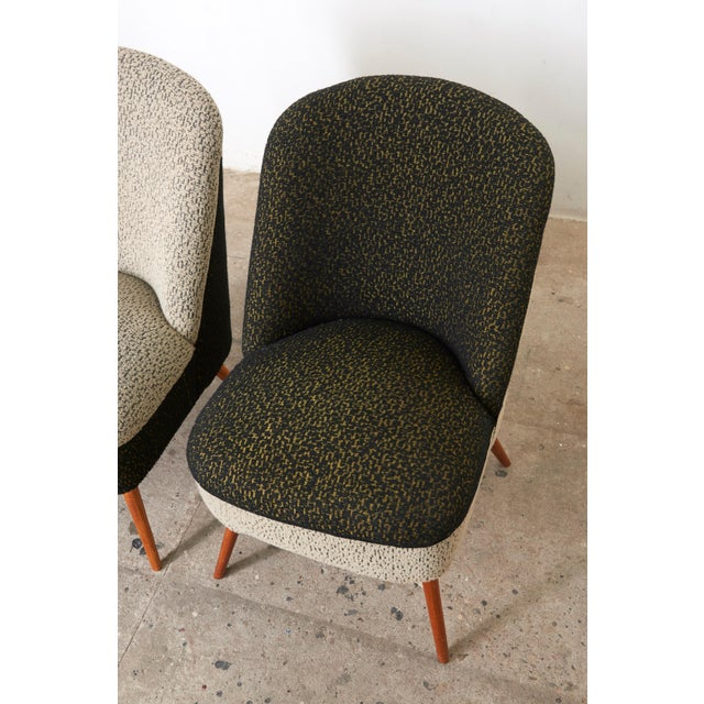 Textile Black and White Coctail Club Chairs ,1950s For Sale - Image 7 of 8