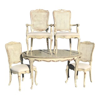 Henredon Country French Dining Table and Chairs - 6 Pieces For Sale