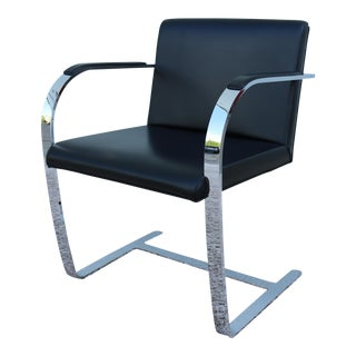 1980s Mid-Century Modern Mies Van Der Rohe for Knoll Black Leather Dining Chair For Sale