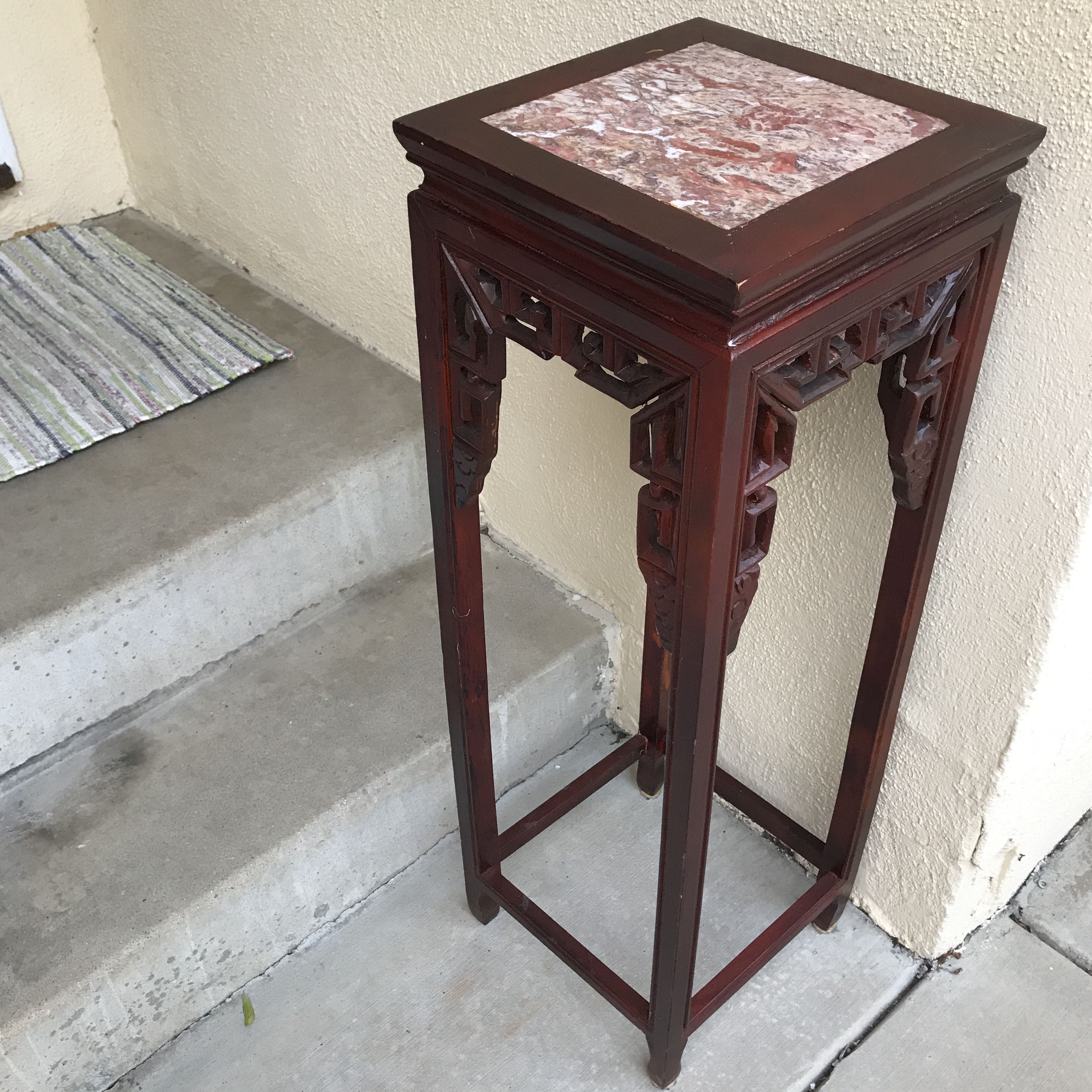 Vintage Asian Cherry Wood Plant Stand   Image 4 Of 11
