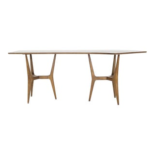 Italian Modernism Asymmetrical Walnut Desk, C. 1950s For Sale