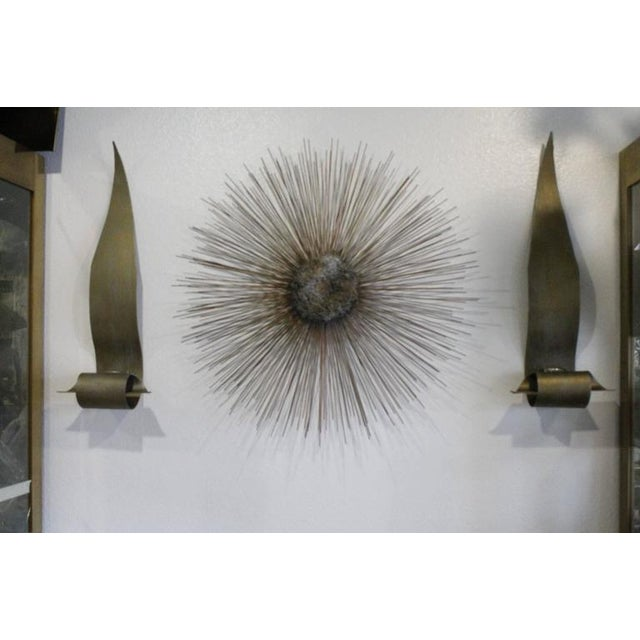 Gold Curtis Jere Vintage Brass and Bronze Brutalist Starburst Wall Hanging For Sale - Image 8 of 9