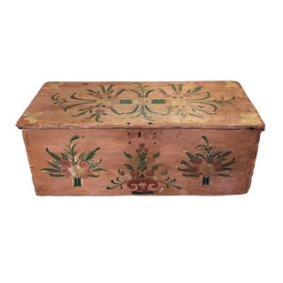 Early 20th Century Handcrafted & Painted Chest For Sale