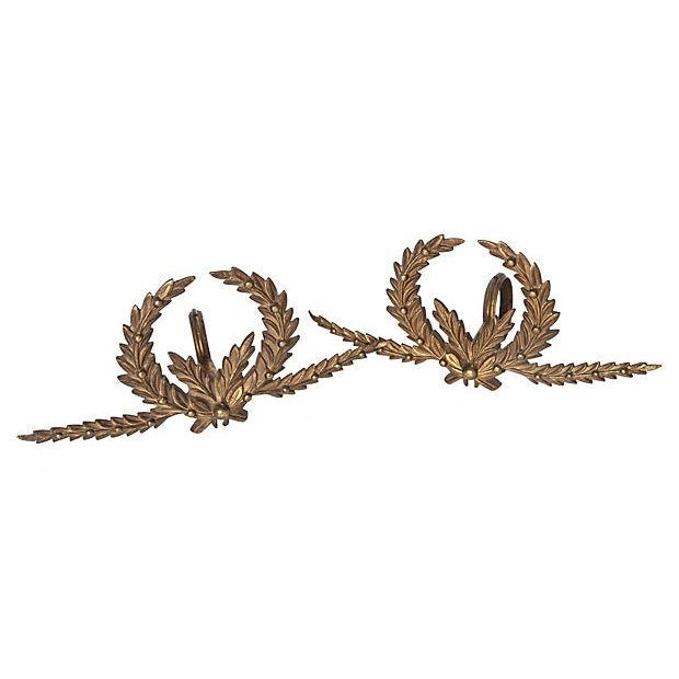 Brass A Pair of Antique French Brass Drapery Rod Holders With Garland Design For Sale - Image 7 of 7
