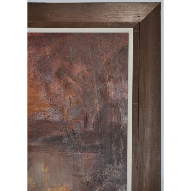 """Don Clausen """"Warm Winter Sky"""" Abstract Landscape Oil Painting C.1963 For Sale - Image 4 of 11"""