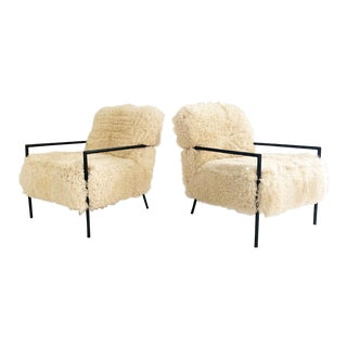 Modern California Sheepskin Iron Armchairs- Pair For Sale