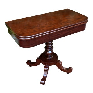 1880s Antique American Empire Mahogany Flip Top Game Table / Console Table For Sale