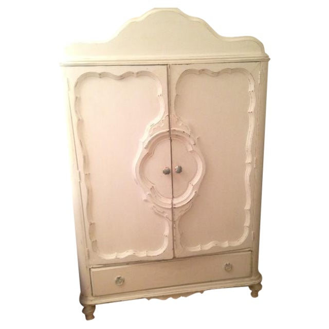 White Antique Shabby Chic Armoire - Image 1 of 5
