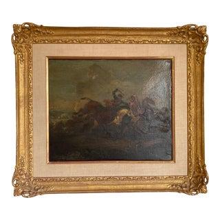 18th Century Italian Battle Scene Oil Painting on Canvas, Framed For Sale