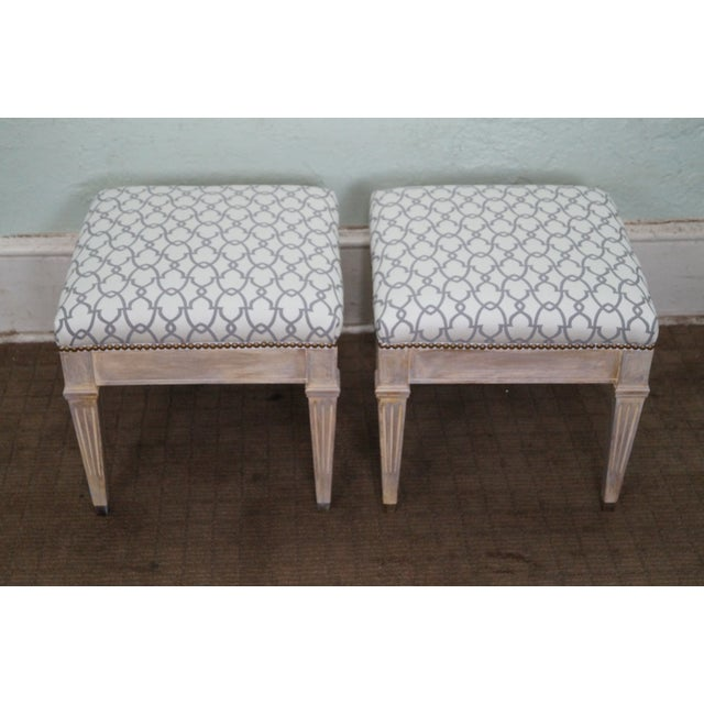 Vintage Custom Painted Regency Ottomans - A Pair - Image 4 of 10