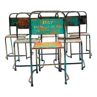 Vintage Imported Tolix Style Distressed Metal Stacking Bistro Dining Chair – a Set of 6 For Sale