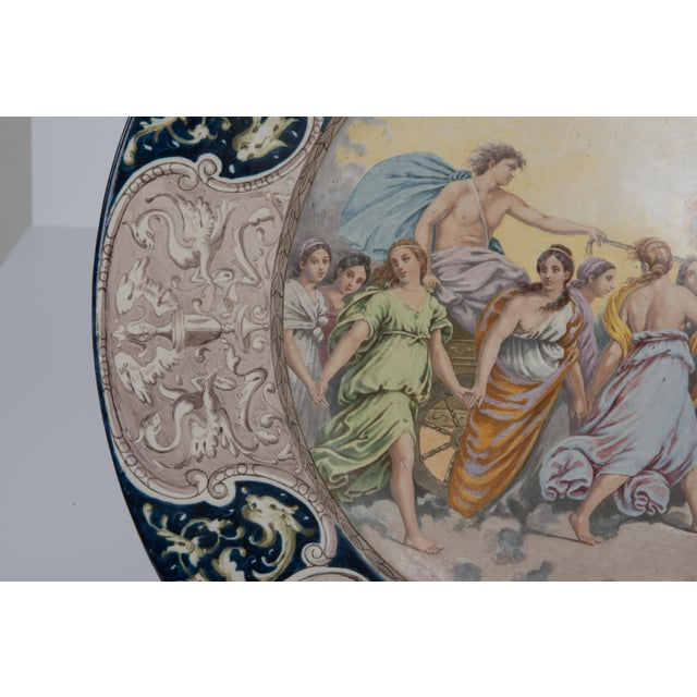 Late 19th Century Large Italian Faience Allegorical Neoclassical Charger Icarus Chariot For Sale - Image 5 of 13