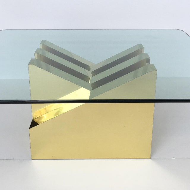Modern Sculptural Brass Clad Coffee Table For Sale - Image 4 of 13