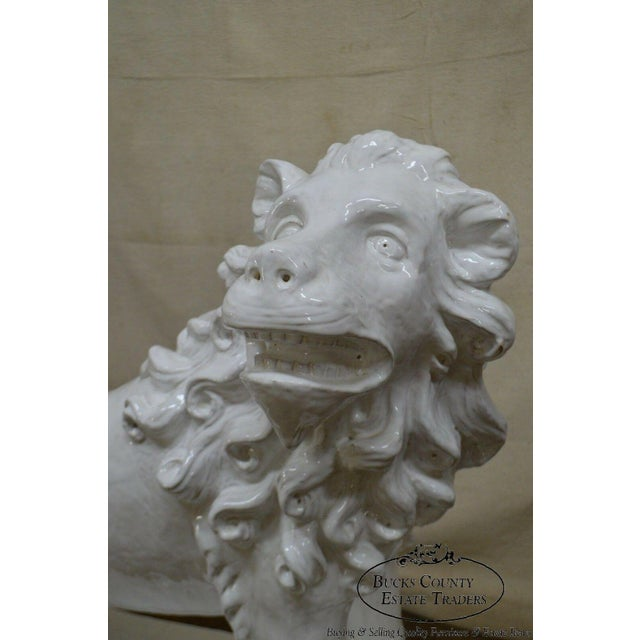 1960s French Faience Pottery Tuilerie Normande Vintage Large White Seated Lion Statue For Sale - Image 5 of 13