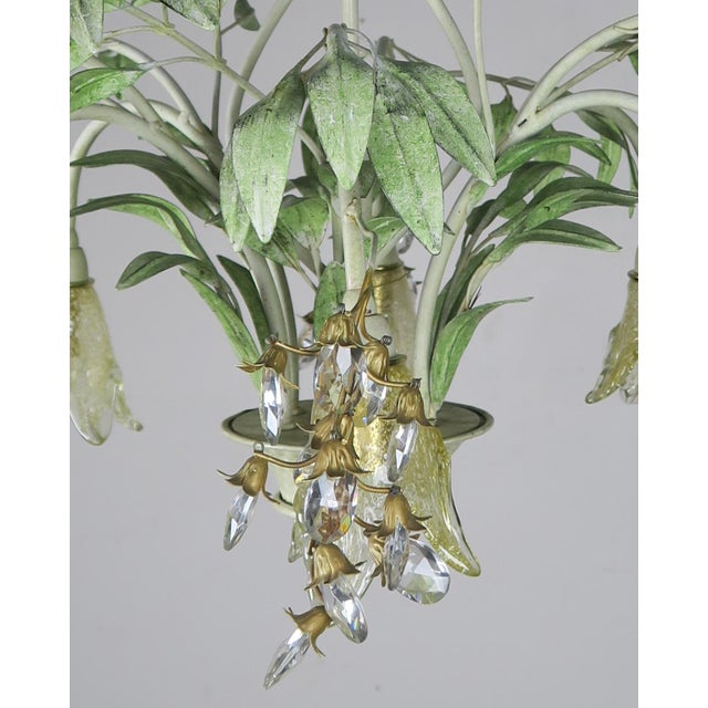 Painted Tole and Murano Glass Chandelier C. 1940's For Sale In Los Angeles - Image 6 of 10