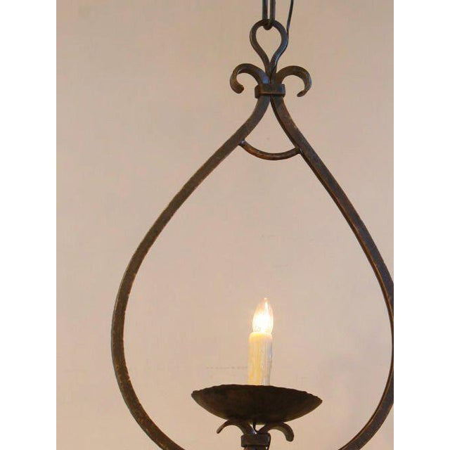 """Contemporary Custom """"Mahoning"""" Hand-Forged, Large Wrought-Iron Pendant For Sale - Image 3 of 11"""