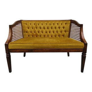 Mid-Century Settee With Rattan Side Panels For Sale