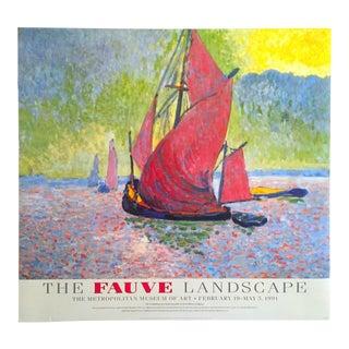 """The Fauve Landscape Vintage 1991 Lithograph Print Met Museum Andre Derain Exhibition Poster """"The Red Sails"""" 1906"""