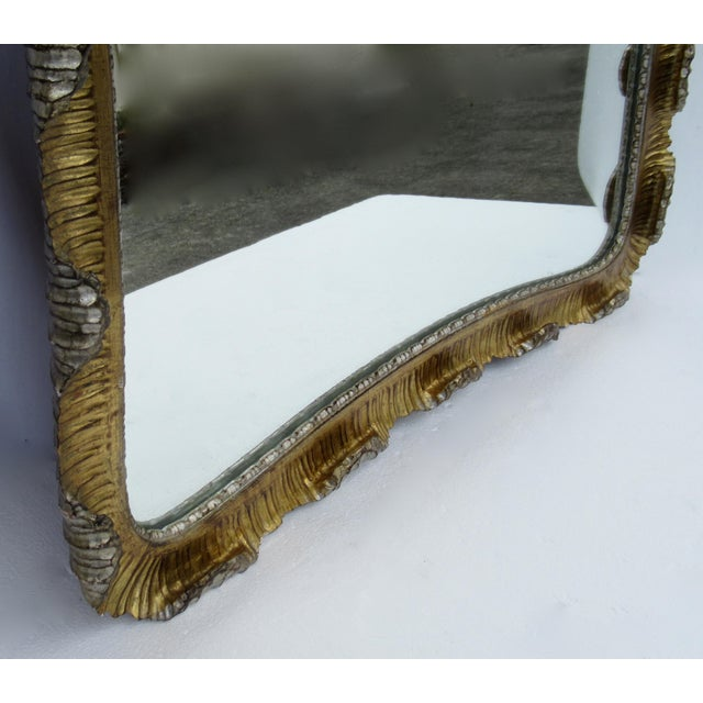 Vintage C.1963 Hollywood Regency, Italian Venetian Carved Gilt Gold & Silver Scalloped Mirror For Sale - Image 10 of 13