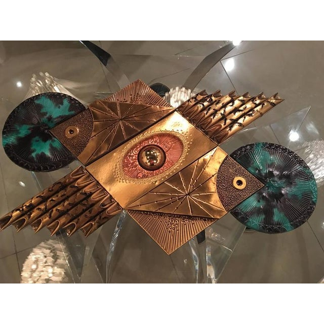 Mid-Century Brutalist Brass Wall Sculpture For Sale In West Palm - Image 6 of 9