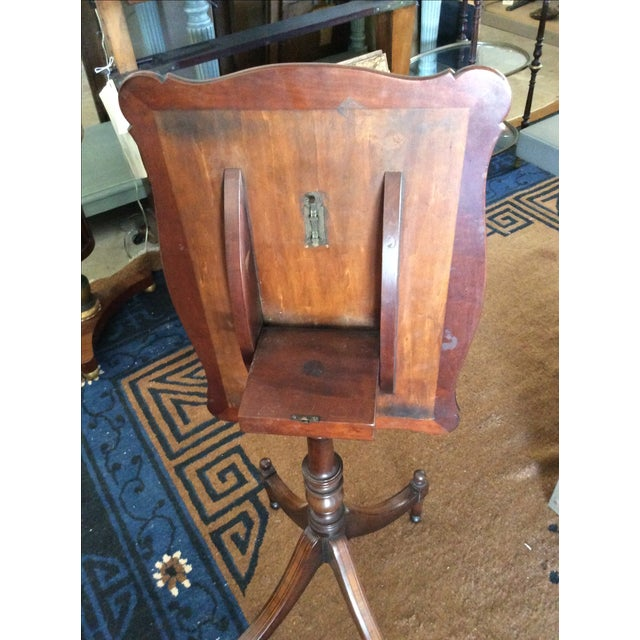 Antique English Leather Tilt Top Side Table - Image 6 of 6