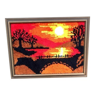 Mid-Century Modern Framed Hook Rug Art For Sale