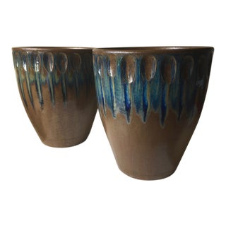 "2 Arts & Crafts Glazed Terra Cotta Planters-15""x13"" For Sale"
